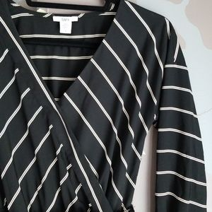 Bar III stripe wrap long sleeve dress